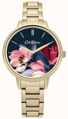 Cath Kidston Goldfarbenes Damenarmband mit floralem Aufdruck CKL050GM