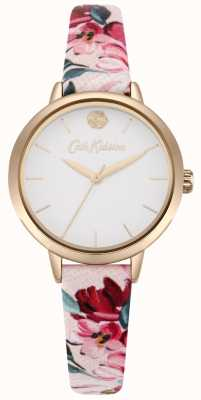 Cath Kidston Pinkfarbenes, bedrucktes Damenarmband mit weißem Zifferblatt CKL064PRG