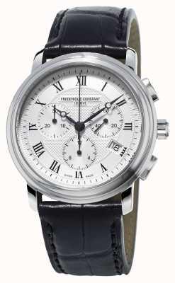 Frederique Constant Klassischer Herrenchronograph aus schwarzem Lederarmband FC-292MC4P6