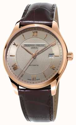 Frederique Constant Herren Klassiker Index vergoldetes braunes Leder FC-303MLG5B4