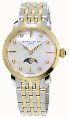 Frederique Constant Damen schlanke Mondphase Quarz zweifarbiges Armband FC-206MPWD1S3B