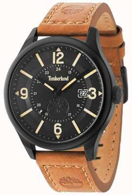 Timberland Herren blake braun Lederband schwarzes Gehäuse und Zifferblatt TBL.14645JSB/02