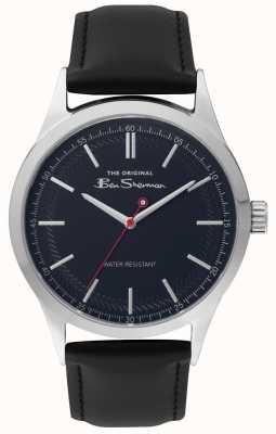 Ben Sherman Mattes blaues Zifferblatt mit schwarzem Armband und silbernem Stahlgehäuse BS016B