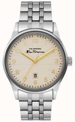 Ben Sherman Herrenarmband aus weißem Zifferblatt mit Silbergehäuse BS017GSM