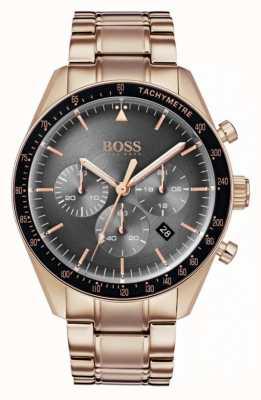 Hugo Boss Mens Trophy Uhr grau Chronograph Zifferblatt Roségold Ton 1513632