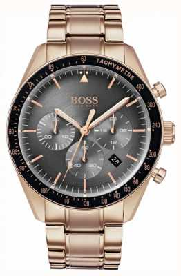 Boss Herren Trophäe Uhr grau Chronograph Zifferblatt Roségold Ton 1513632