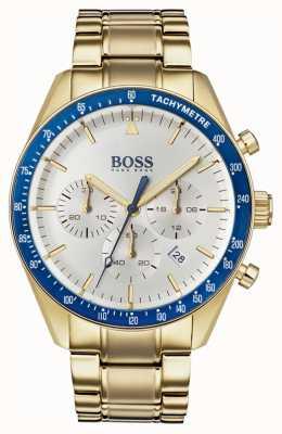 Boss Herren Trophäe Uhr weiß Chronograph Zifferblatt Goldton 1513631