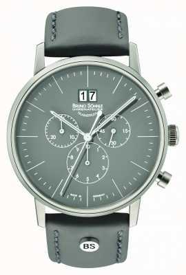 Bruno Sohnle Herren Stuttgart Chrono 42mm grau mit Lederband 17-13177-841