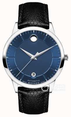 Movado Mens 1881 automatische blaue Zifferblatt schwarzes Lederarmband 0607020