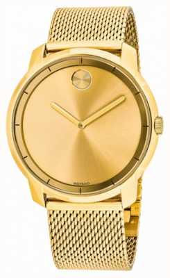 Movado Mens Fett vergoldetes Mesh-Armband 3600373