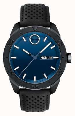 Movado Mens fettes blaues Zifferblatt schwarz perforierten Lederarmband 3600495