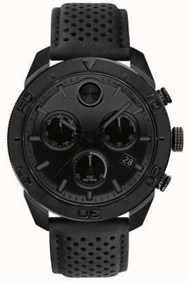 Movado Kräftiges schwarzes Chronographen-Lederarmband 3600517