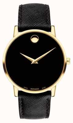Movado Mensuse schwarz Leder vergoldetes Gehäuse 0607195