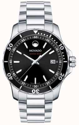 Movado Herren Serie 800 Edelstahl schwarzes Zifferblatt 2600135