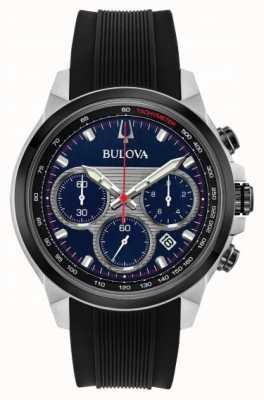Bulova Herrenchronograph blaues Zifferblatt mit schwarzem Kautschukarmband 98B314