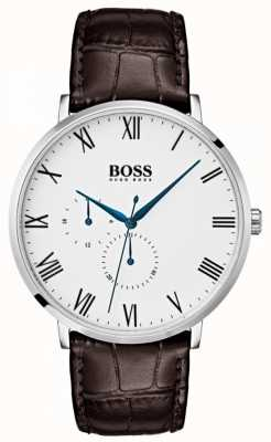 Hugo Boss Men's william klassisches braunes Leder weißes Zifferblatt 1513617