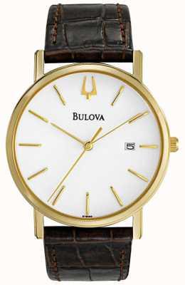 Bulova Klassische braune Herrenuhr aus Leder 97B100