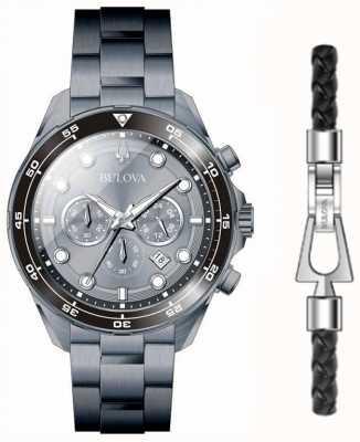 Bulova Herren schwarz PVD überzogene Uhr und Armband Geschenkset 98K104