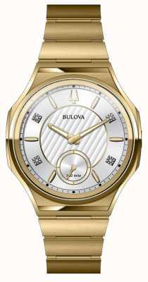 Bulova Unisex-Uhr aus gebogenem Edelstahl vergoldet 97P136