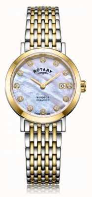 Rotary Womens Windsor Diamant Datum zwei Ton Armbanduhr LB05301/41/D