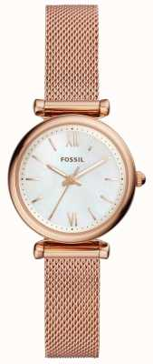 Fossil Damen Mini Carlie Rose Gold Ton Mesh Armbanduhr ES4433
