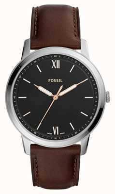 Fossil Mens die minimalistische Uhr schwarzes Zifferblatt braun Lederarmband FS5464