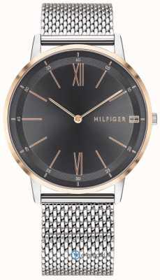 Tommy Hilfiger Herren Cooper Uhr Edelstahlgewebe Armband schwarzes Zifferblatt 1791512