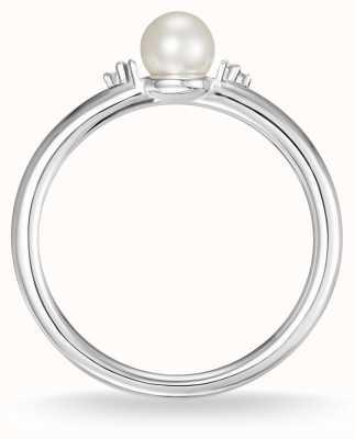 Thomas Sabo Sterling Silber Perle und weißer Diamant Ringgröße 54 D_TR0039-765-14-54