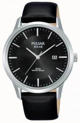 Pulsar Herren Edelstahlgehäuse schwarz solarbezogenes Lederarmband PX3163X1