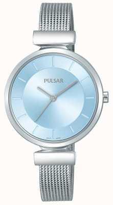 Pulsar Damenarmband aus Edelstahl hellblaues Zifferblatt PH8411X1