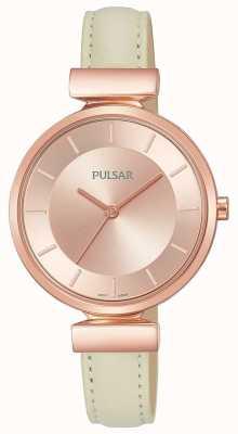 Pulsar Ladies Rosé vergoldetes Gehäuse aus cremefarbenem Lederarmband PH8418X1