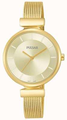 Pulsar Ladies goldfarbene Edelstahl-Mesh-Uhr PH8412X1