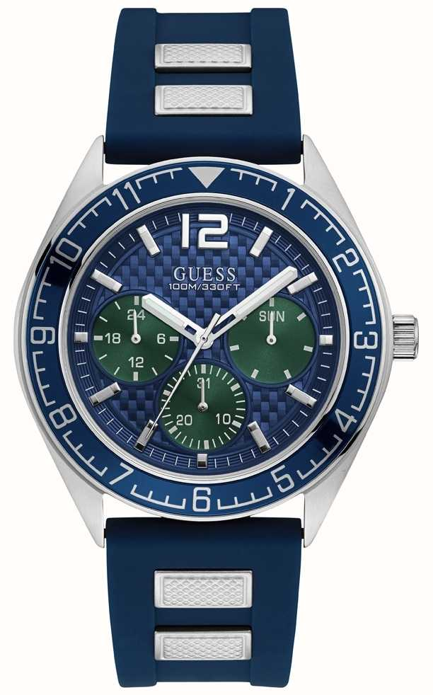 Der Blaue First Chronograph Männer Blauer Gummiband W1167g1 Guess fgb6yvY7
