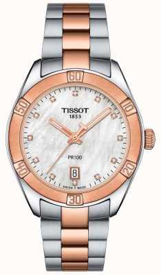 Tissot Womens pr100 Sport Chic zweifarbige Armbanduhr T1019102211600