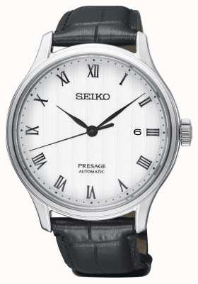 Seiko Presage Herren automatisches weißes Zifferblatt schwarzes Lederband SRPC83J1