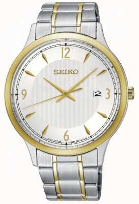 Seiko Mens klassische Muster weiß Zifferblatt zwei-Ton-Uhr SGEH82P1