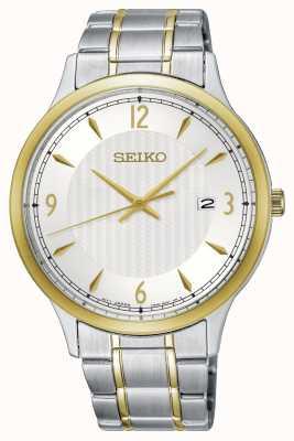 Seiko Klassische Herrenuhr mit weißem Zifferblatt und zweifarbigem Muster SGEH82P1