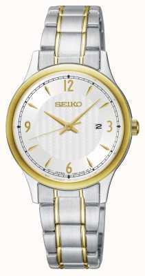 Seiko Klassische Damenuhr mit weißem Zifferblatt und zweifarbigem Muster SXDG94P1