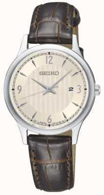 Seiko Klassischer Damenuhr aus braunem Leder mit Uhrwerk aus cremefarbenem Leder SXDG95P1