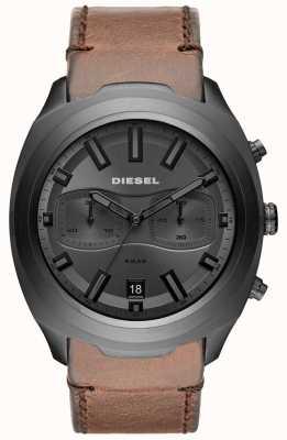 Diesel Graue Herrenuhr Chronograph braun Lederband Uhr DZ4491