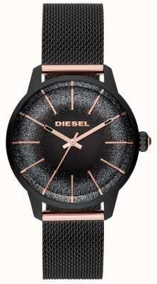 Diesel Damen castilla schwarz und roségold Uhr Mesh-Armband DZ5577