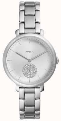 Fossil Damen jacqueline Edelstahl Silber Kristall Uhr ES4437