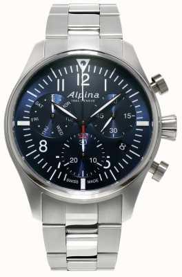 Alpina Mens Startimer Pilot Chronograph Quarz Edelstahl AL-371NN4S6B