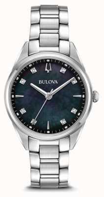 Bulova Klassisches Sutton-Zifferblatt für Damen aus schwarzem Perlmutt-Zifferblatt 96P198