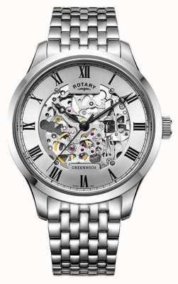 Rotary Herren Greenwich Edelstahl Armband Skelett Uhr GB02940/06