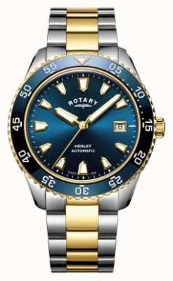 Rotary Herren Henley Automatik zweifarbige Armband blaue Zifferblatt Uhr GB05131/05