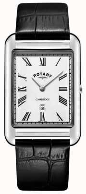 Rotary Cambridge Date Square Herrenuhr aus schwarzem Lederarmband GS05280/01