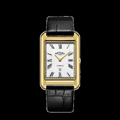 Rotary Herrenuhr aus Datumsgold in Quadratgold mit schwarzem Lederarmband GS05283/01