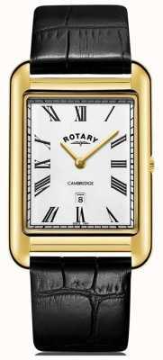 Rotary Herren Cambridge Datum Gold quadratische Uhr schwarz Lederarmband GS05283/01