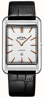 Rotary Cambridge Date Square Herren schwarzes Lederarmband GS05280/02
